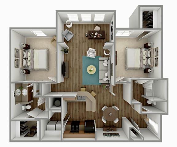 Floor Plan  B2 - 2 Bedroom 2 Bath Floorplan Image