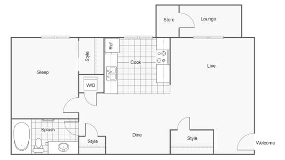 Floor Plan  1 Bedroom 1 Bath Floor Plan at 2900 Lux Apartment Homes, Las Vegas, Nevada
