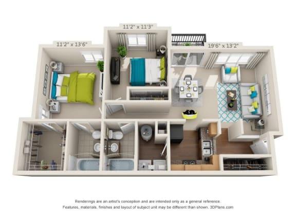 Floor Plan  The Highland - B2 - 2X2 - 983 sq. ft.