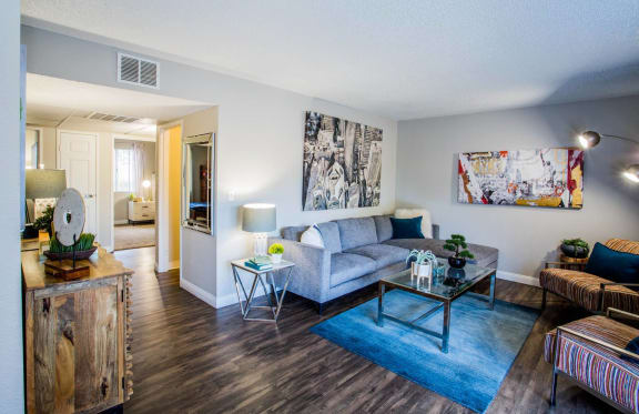 Living Room With Dining Area at 2900 Lux Apartment Homes, Las Vegas, NV