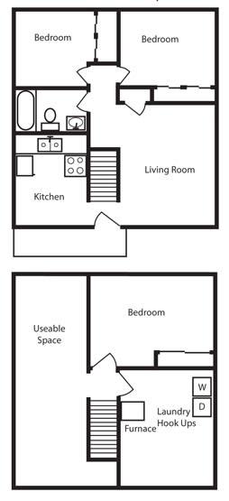 Floor Plan  3 Bedroom 1 Bath Floor Plan at Aspen Townhomes, Colorado Springs, 80909