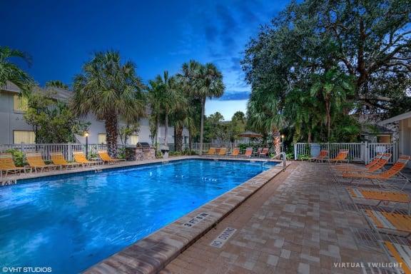 Pool During Twilight at Sarasota South, Bradenton, FL