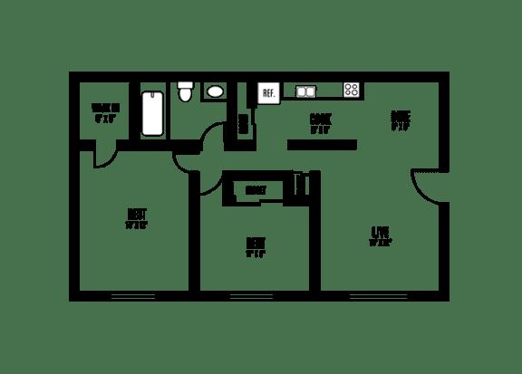 Floor Plan  2 Bedroom 1 Bath Floor Plan at Sarasota South, Bradenton, 34207