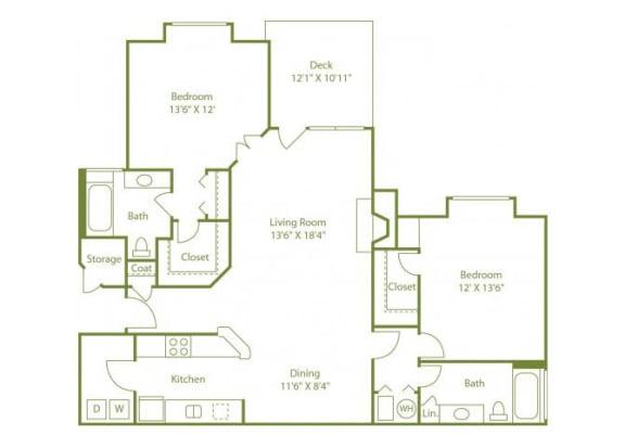 Floor Plan  2 Bed 2 Bath Floor Plan at Wynfield Trace, Peachtree Corners, GA