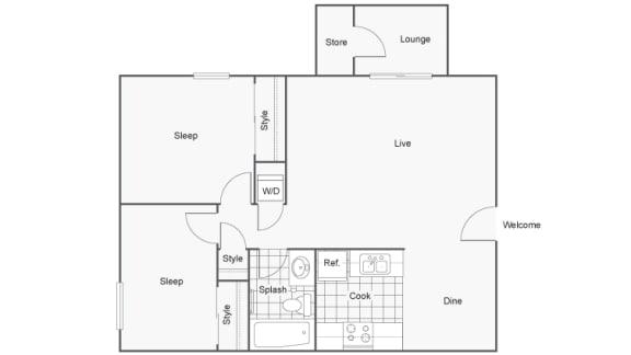Floor Plan  2 Bedroom 1 Bathroom Floor Plan at 2900 Lux Apartment Homes, Nevada, 89102