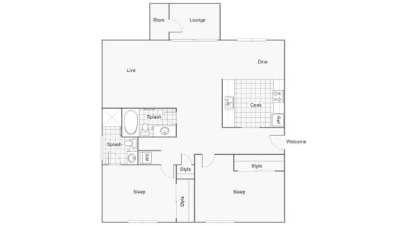 Floor Plan  2 Bedroom 2 Bathroom Floor Plan at 2900 Lux Apartment Homes, Las Vegas, NV