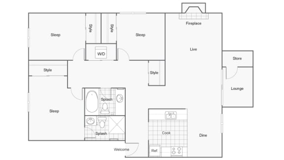 Floor Plan  3 Bedroom 2 Bathroom Floor Plan at 2900 Lux Apartment Homes, Nevada