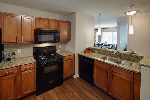 Spacious Kitchen with Stainless Steel Double Sink and Matching Black Appliances