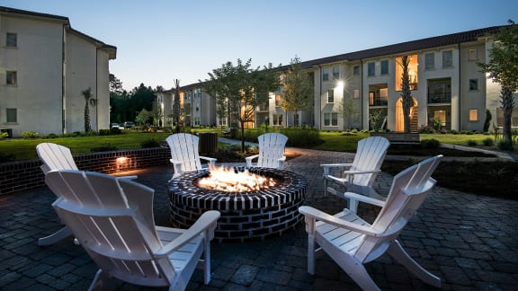 Outdoor courtyard with fire pit at Two Addison Place, Georgia, 31322