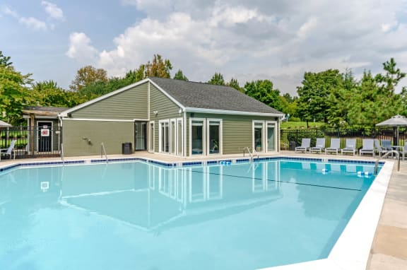 Sun Deck and Poolside Cabanas at The Crossings at White Marsh Apartments, Maryland, 21128