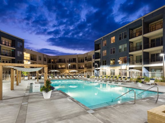 Turquoise Swimming Pool at Millworks Apartments, Georgia, 30318