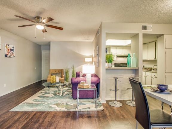 Dining Room and Kitchen View at Newport Apartments, CLEAR Property Management, Irving, Texas