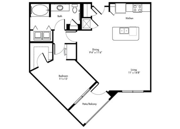 Floor Plan  buchanan 1x1 854 sf at City Lake, Texas, 77054