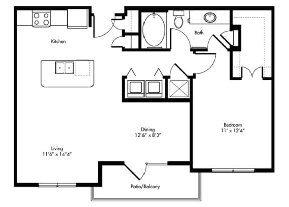 Floor Plan  childress 1x1 835 sf at City Lake, Houston, TX, 77054