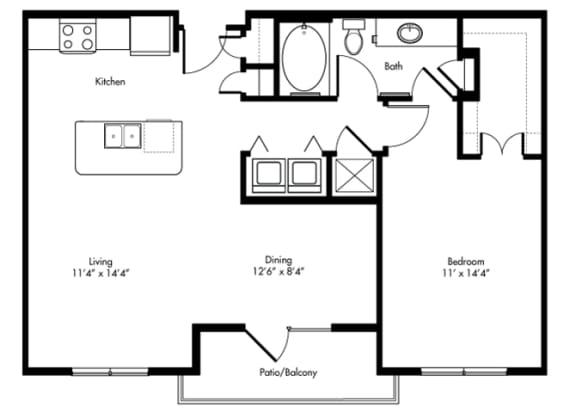 Floor Plan  childress 1x1 859 sf at City Lake, Texas