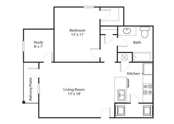 Floor Plan  Parkway 1x1 815 SF floor plan