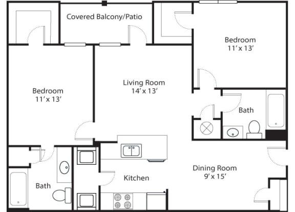 Floor Plan  Pinnacle 2x2 1101 SF floor plan