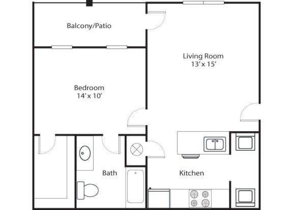 Floor Plan  Pointe 1x1 681 SF floor plan
