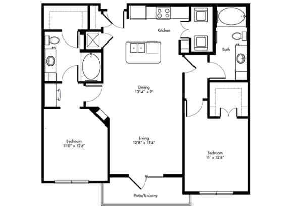 Floor Plan  texana 2x2 1122 sf at City Lake, Houston, TX, 77054