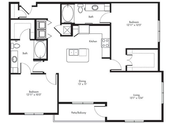 Floor Plan  travis 2x2 1289 sf at City Lake, Houston, Texas