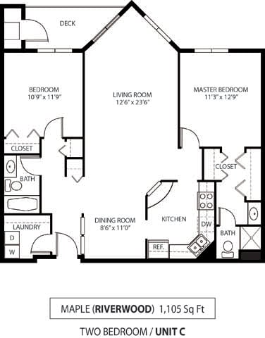 Floor Plan  The Riverwood Apartments in Lilydale, MN 2 Bedroom 2 Bath
