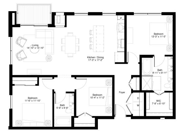 Floor Plan  Red Wood Floor plan at Central Park West, St. Louis Park, 55416