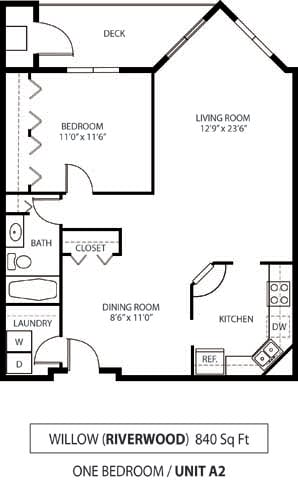 Floor Plan  The Riverwood Apartments in Lilydale, MN 1 Bedroom 1 Bath