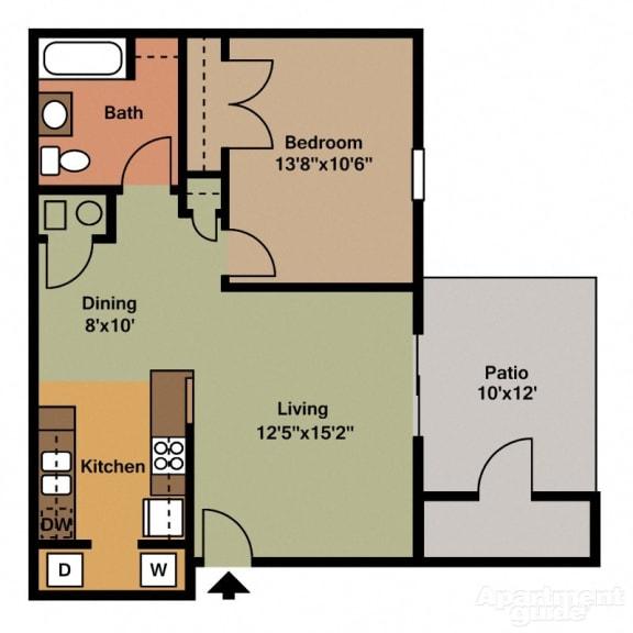 Floor Plan  1 Bed, 1 Bath Floor Plan at Shenandoah Properties, Lafayette, IN