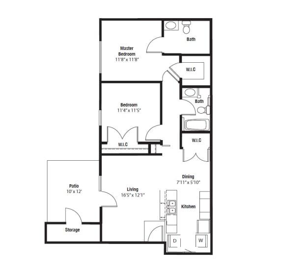 Floor Plan  Cherokee Two Bedroom two bathroom floor plan at Shenandoah properties in Indiana