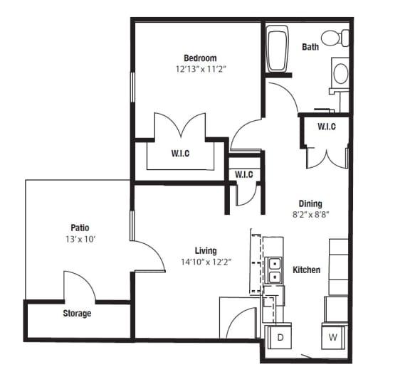 Floor Plan  Wyandotte One Bedroom floor plan at Shenandoah properties Indiana