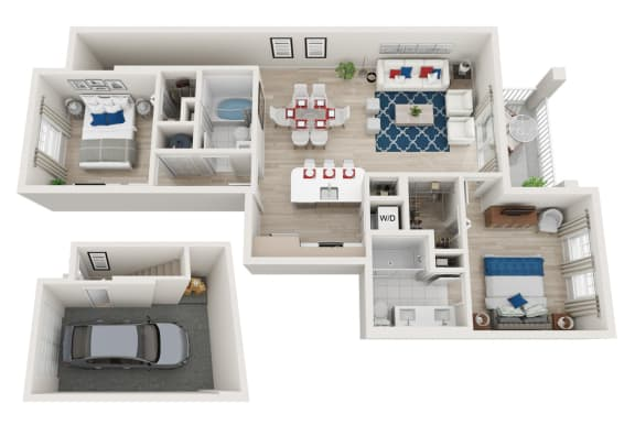 Floor Plan  2 Bedroom 2 Bathroom with a Garage