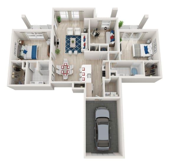 Floor Plan  3 Bedroom 2 Bath  with a Garage