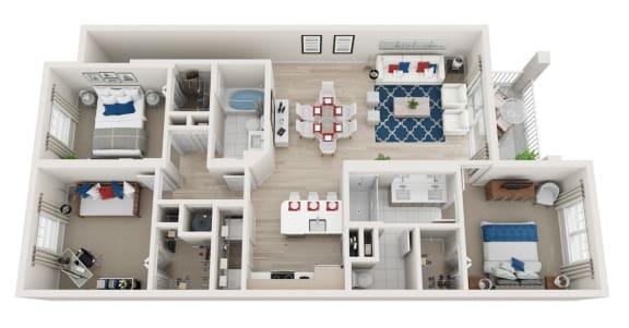 Floor Plan  3 Bedroom 2 Bath