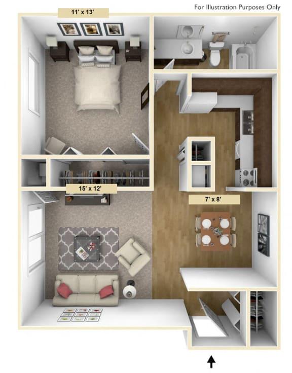 Floor Plan  Roseland One Bedroom Floor Plan at Windsor Place, Michigan