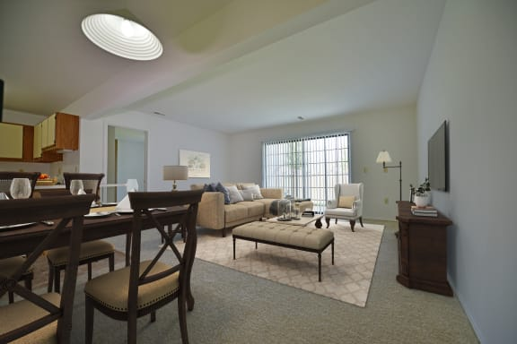 Juniper Living Room Model at Thornridge Apartments, MI 48439