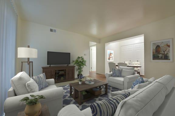Timberland Layout Living Room at Woodland Place Apartments, Midland, Michigan 48640