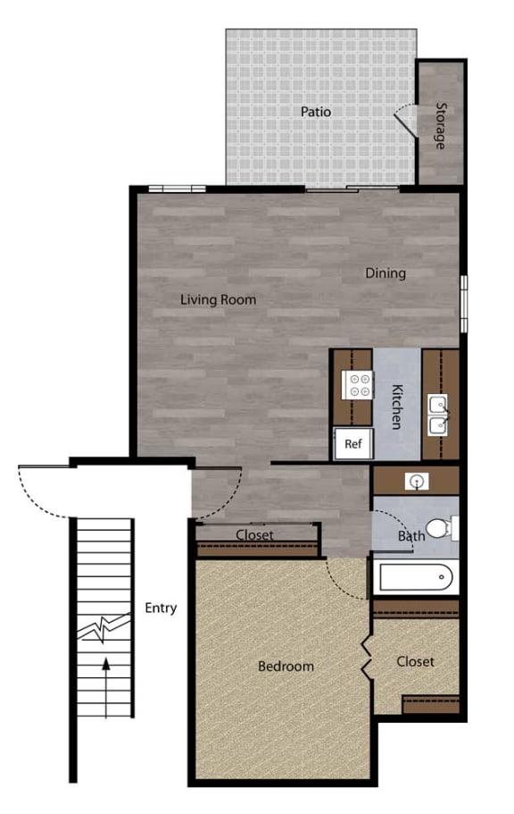 Floor Plan  One Bedroom Floorplan at St. Charles Oaks Apartments, California, 91360