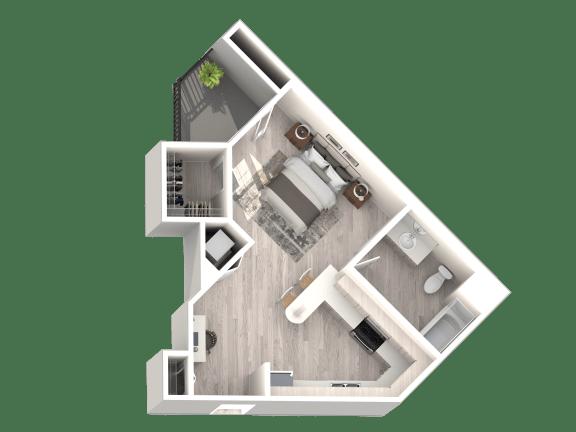 Floor Plan  Floor Plan A - Studio 1 Bathroom - 519 sqft