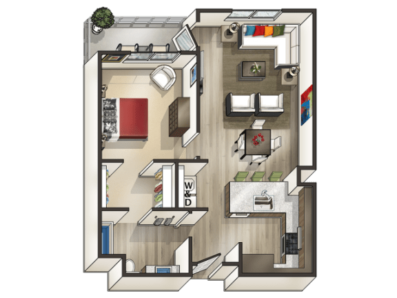 Floor Plan  D - 1 Bedroom 1 Bath Floor Plan Layout - 764 Square Feet