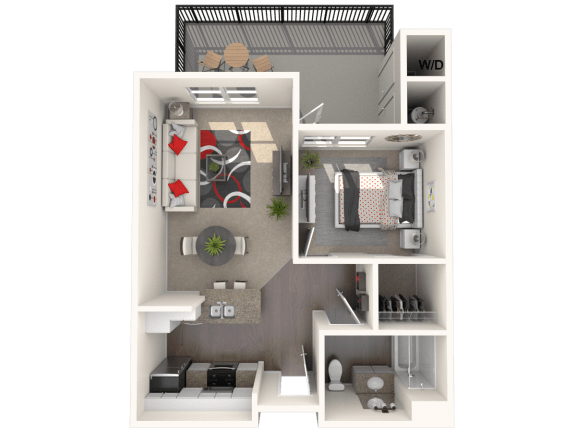 Floor Plan  Bungalow - One bedroom, one bathroom unit at FountainGlen Temecula