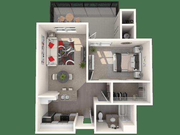 Floor Plan  Bungalow Plus - two bedroom, one bathroom unit at FountainGlen Temeucla