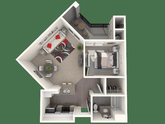Floor Plan  Green - 1 bedroom 1 bathroom at FountainGlen Temecula