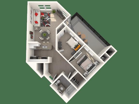 Floor Plan  Maybeck - Two bedroom one bathroom unit at FountainGlen Temeucla