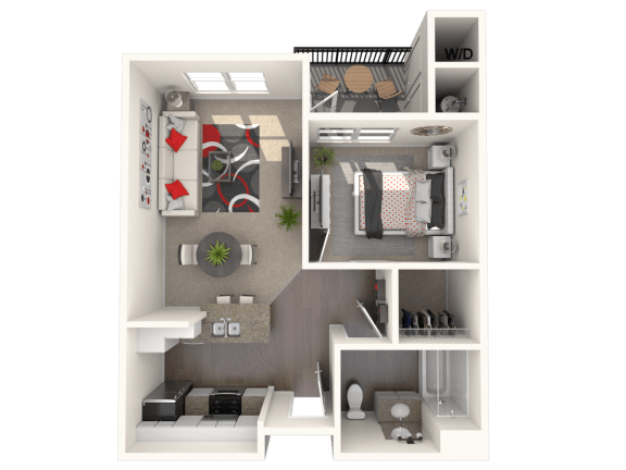 Floor Plan  Mission - One bedroom one bathroom unit at FountainGlen Temecula