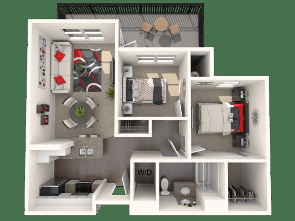 Floor Plan  Morris - two bedroom one bathroom unit at FountainGlen Temecula