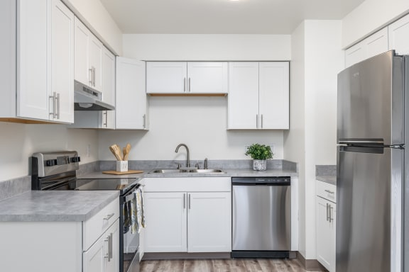 Hood Manor Apartments Kitchen with Stainless Steel Appliances