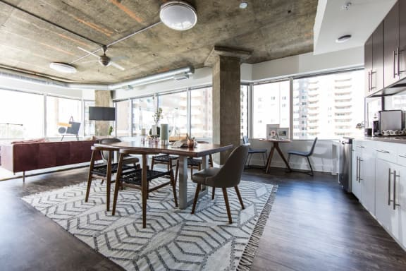 eLofts Apartments Model Loft Dining Room and Kitchen