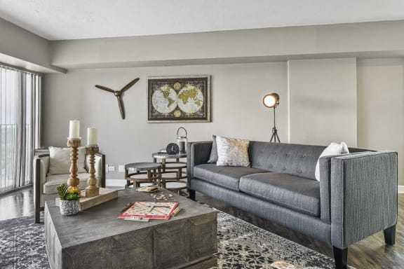 Decorative Living Room at CityView on Meridian, Indianapolis, IN