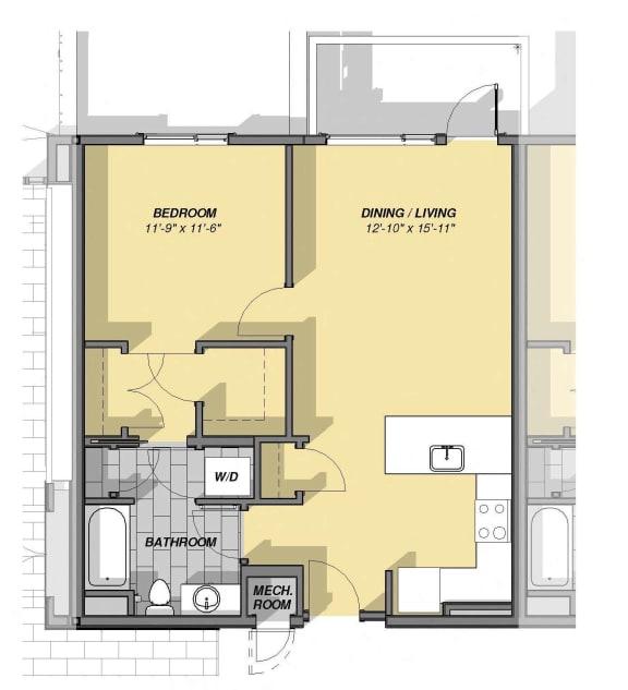 Floor Plan  1 Bedroom 1 Bathroom Floor Plan at Park77, Cambridge, Massachusetts