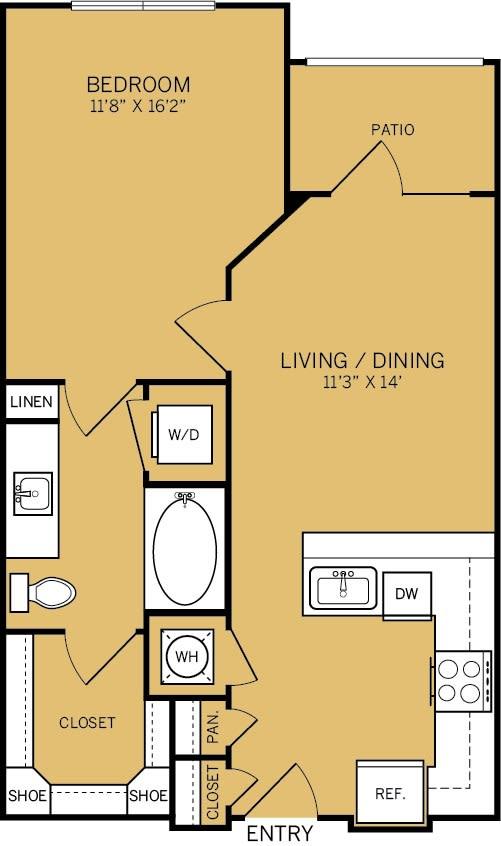 Floor Plan  1 Bedroom 1 Bathroom A Floor plan at The Kelley, Ft. Worth, TX, 76102